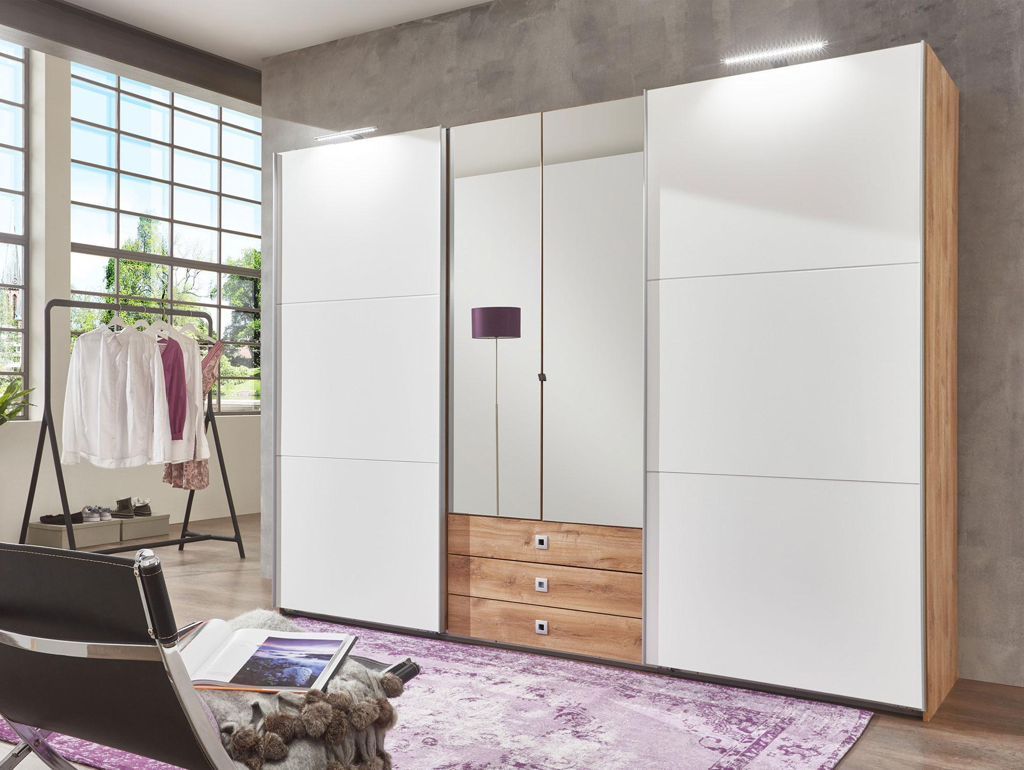 toledo kleiderschrank schwebe dreht renschrank plankeneiche weiss inkl spiegel. Black Bedroom Furniture Sets. Home Design Ideas