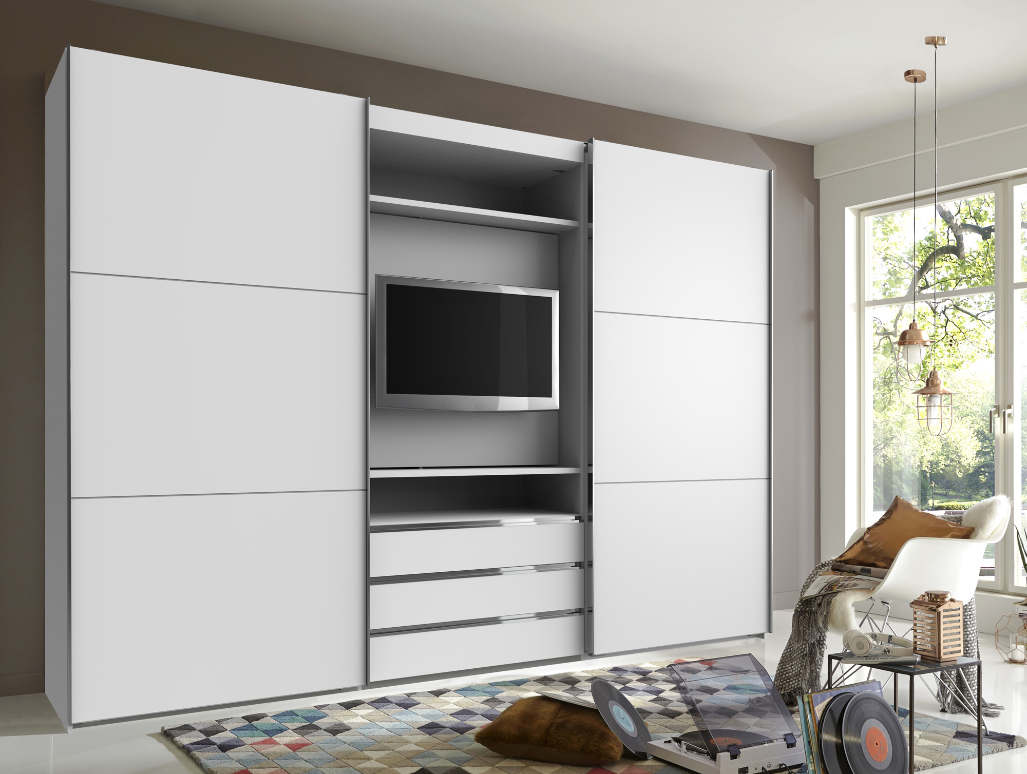 manchester tv schwebet renschrank 216 cm weiss. Black Bedroom Furniture Sets. Home Design Ideas