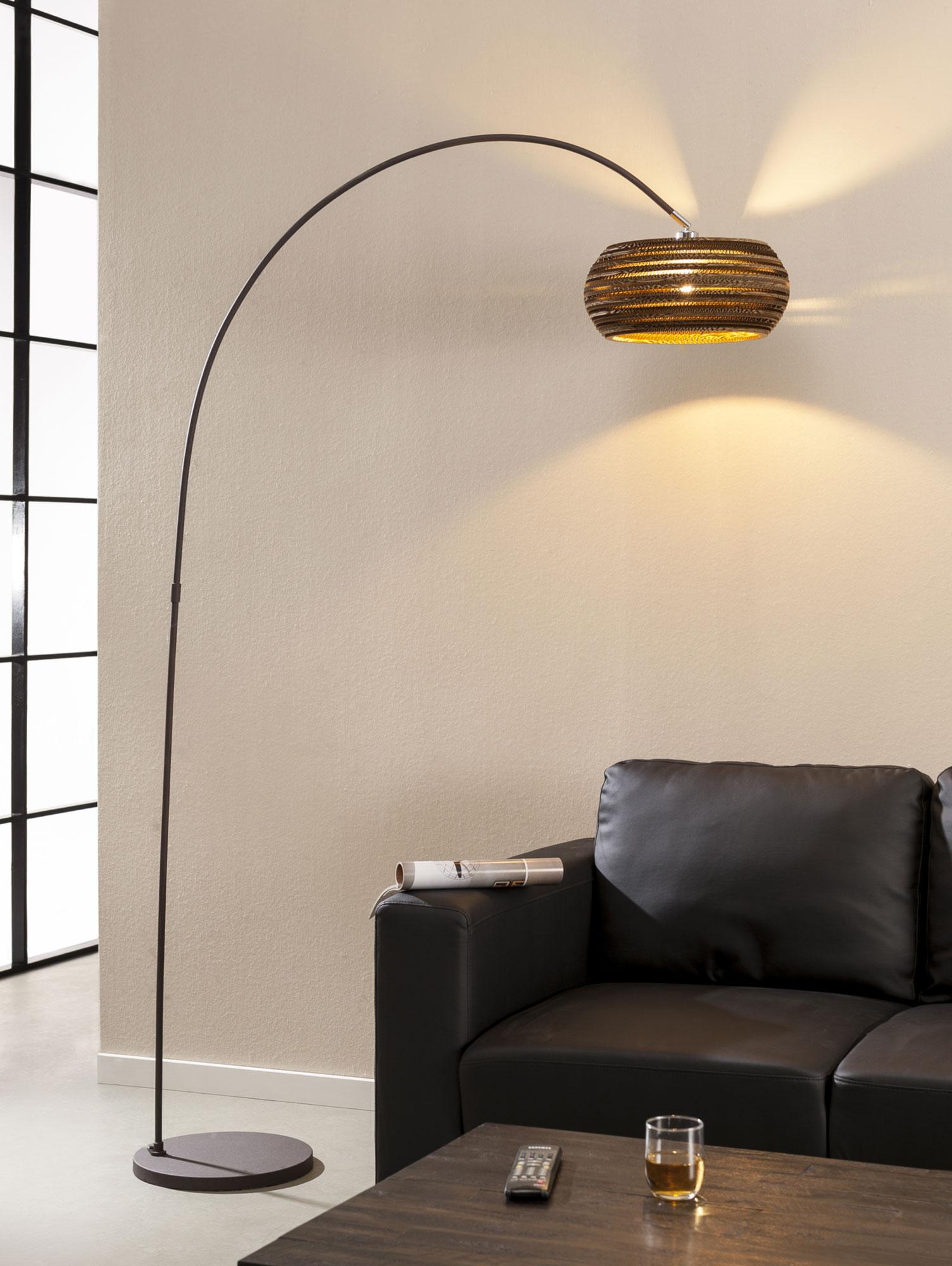 Caiden stehlampe bogenlampe braun for Stehlampe designklassiker