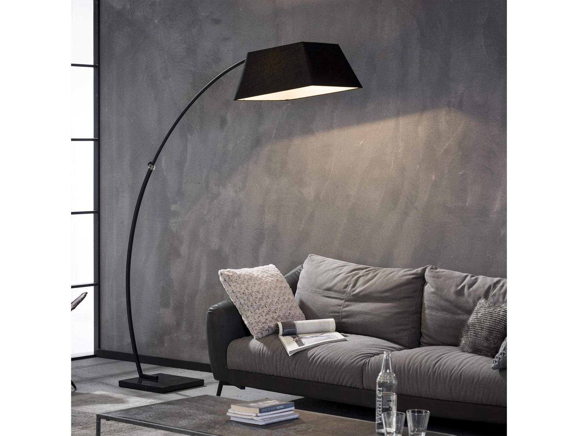 hanno bogenlampe mit square fu schwarz. Black Bedroom Furniture Sets. Home Design Ideas