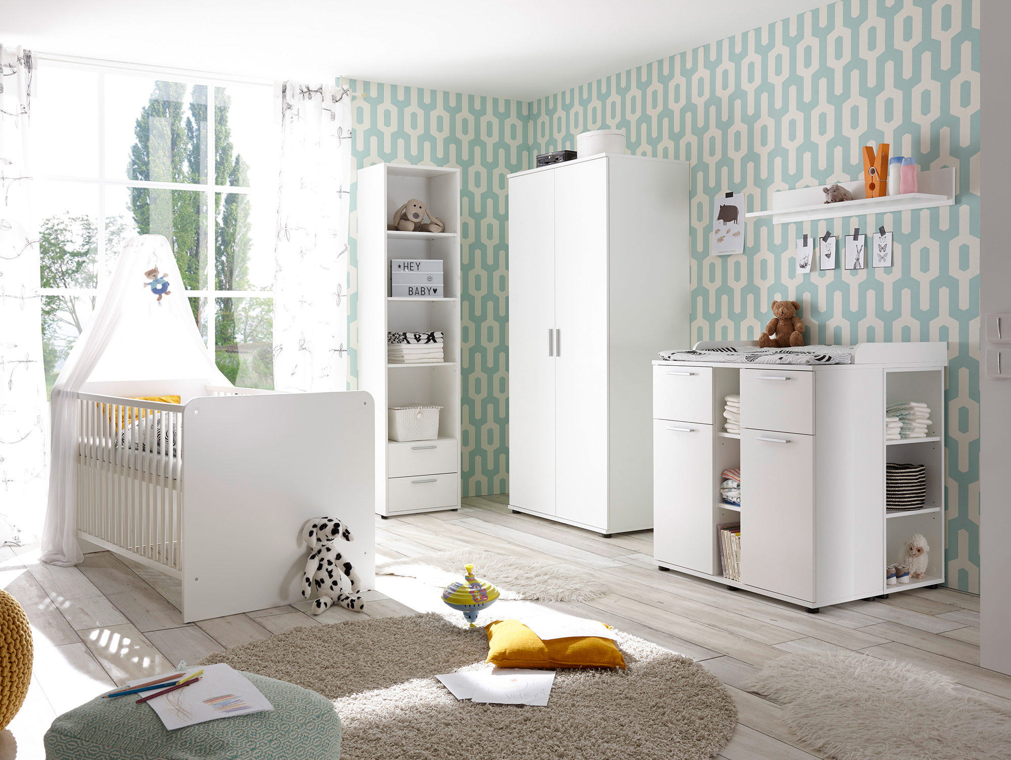 bambino komplett babyzimmer 5 teilig material dekorspanplatte weiss. Black Bedroom Furniture Sets. Home Design Ideas