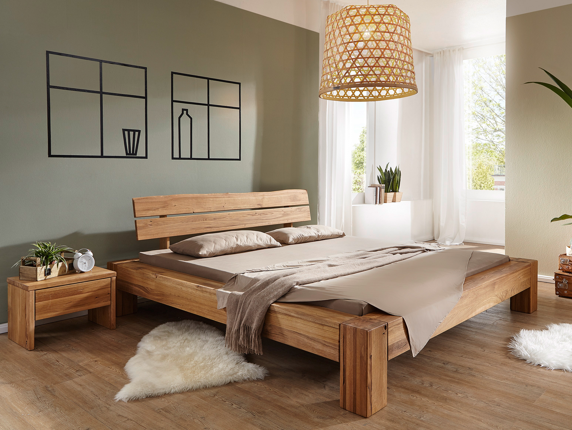 benissa doppelbett wildeiche ge lt 160 x 200 cm. Black Bedroom Furniture Sets. Home Design Ideas