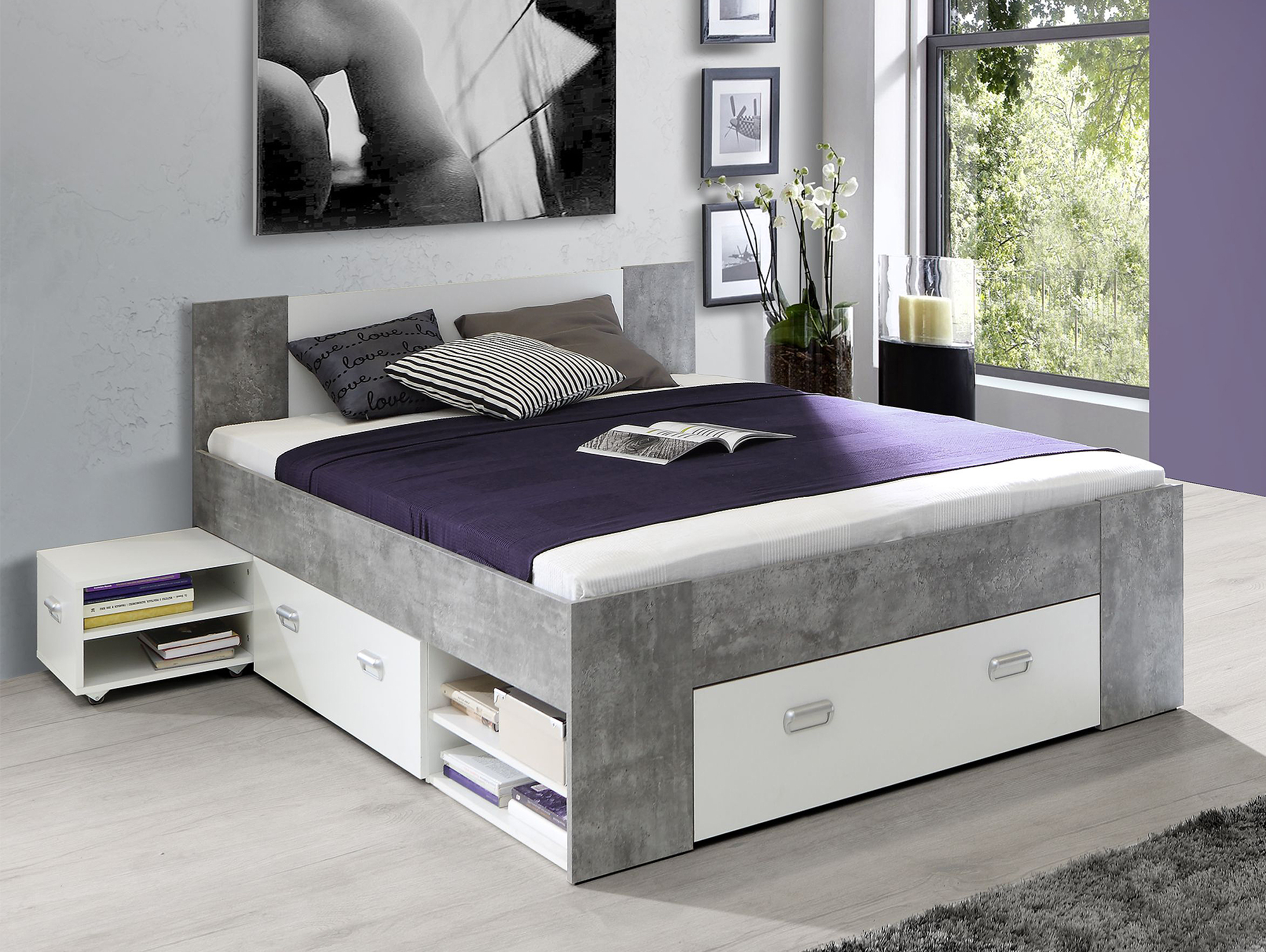benjamin funktionsbett 140x200 cm beton wei. Black Bedroom Furniture Sets. Home Design Ideas