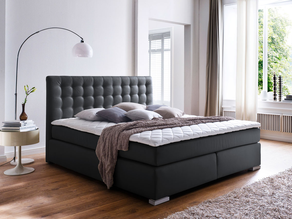 isabell boxspringbett 200 x 200 cm schwarz h rtegrad 3. Black Bedroom Furniture Sets. Home Design Ideas