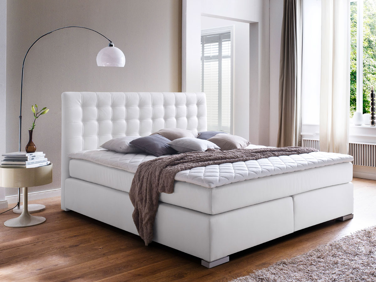 isabell boxspringbett 160 x 200 cm weiss h rtegrad 2 3. Black Bedroom Furniture Sets. Home Design Ideas
