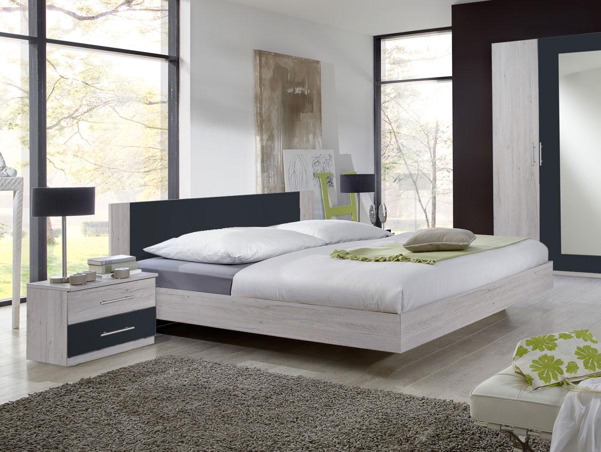 flores ii komplett schlafzimmer 180 x 200 cm wei eiche dekor anthrazit. Black Bedroom Furniture Sets. Home Design Ideas