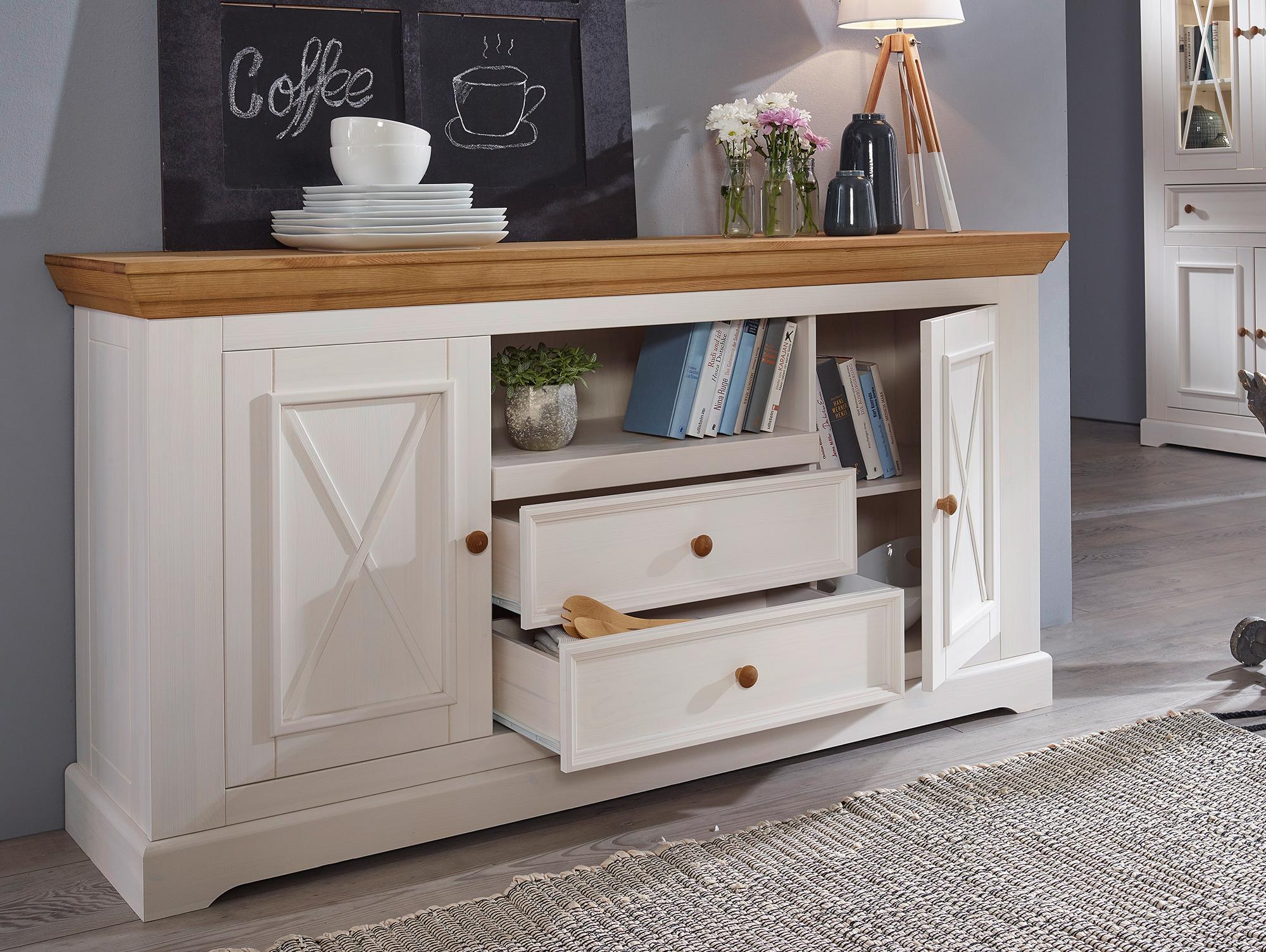 bornholm sideboard ii material massivholz kiefer weiss eichefarbig. Black Bedroom Furniture Sets. Home Design Ideas