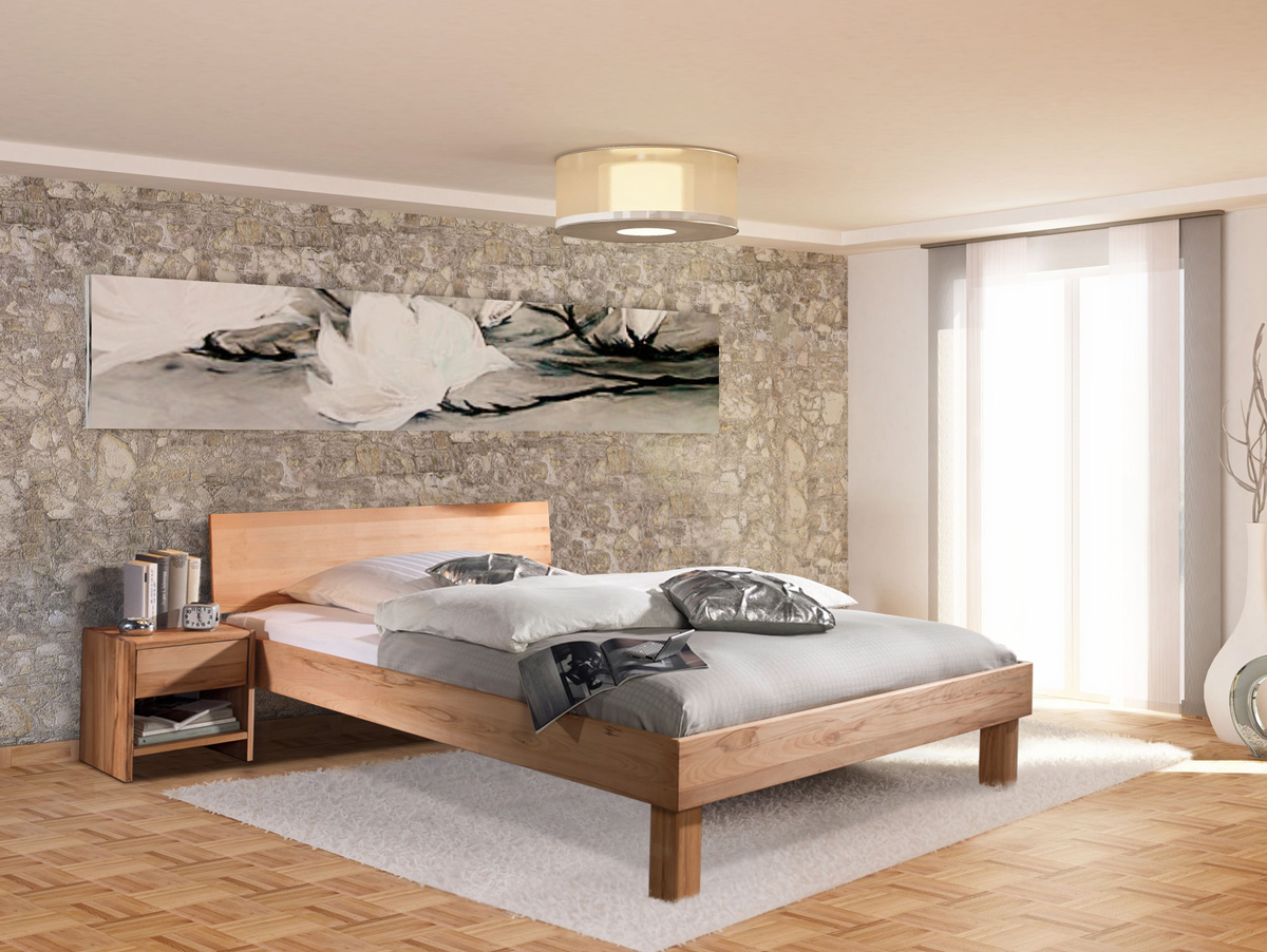 carina massivholzbett mit geschlossenem kopfteil 180 x 200 cm kernbuche. Black Bedroom Furniture Sets. Home Design Ideas