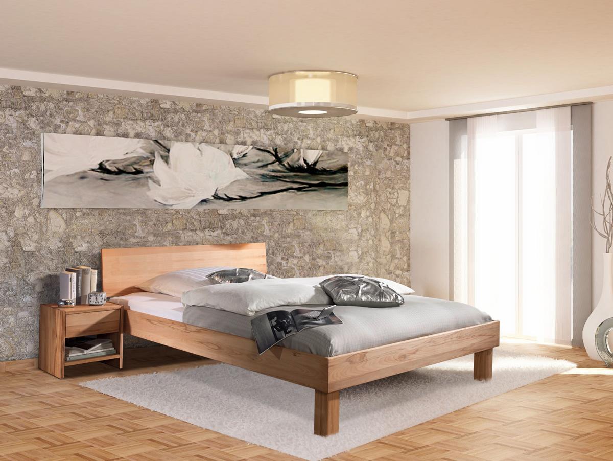 carina massivholzbett mit geschlossenem kopfteil 180 x 200 cm kernbuche. Black Bedroom Furniture Sets. Home Design Ideas