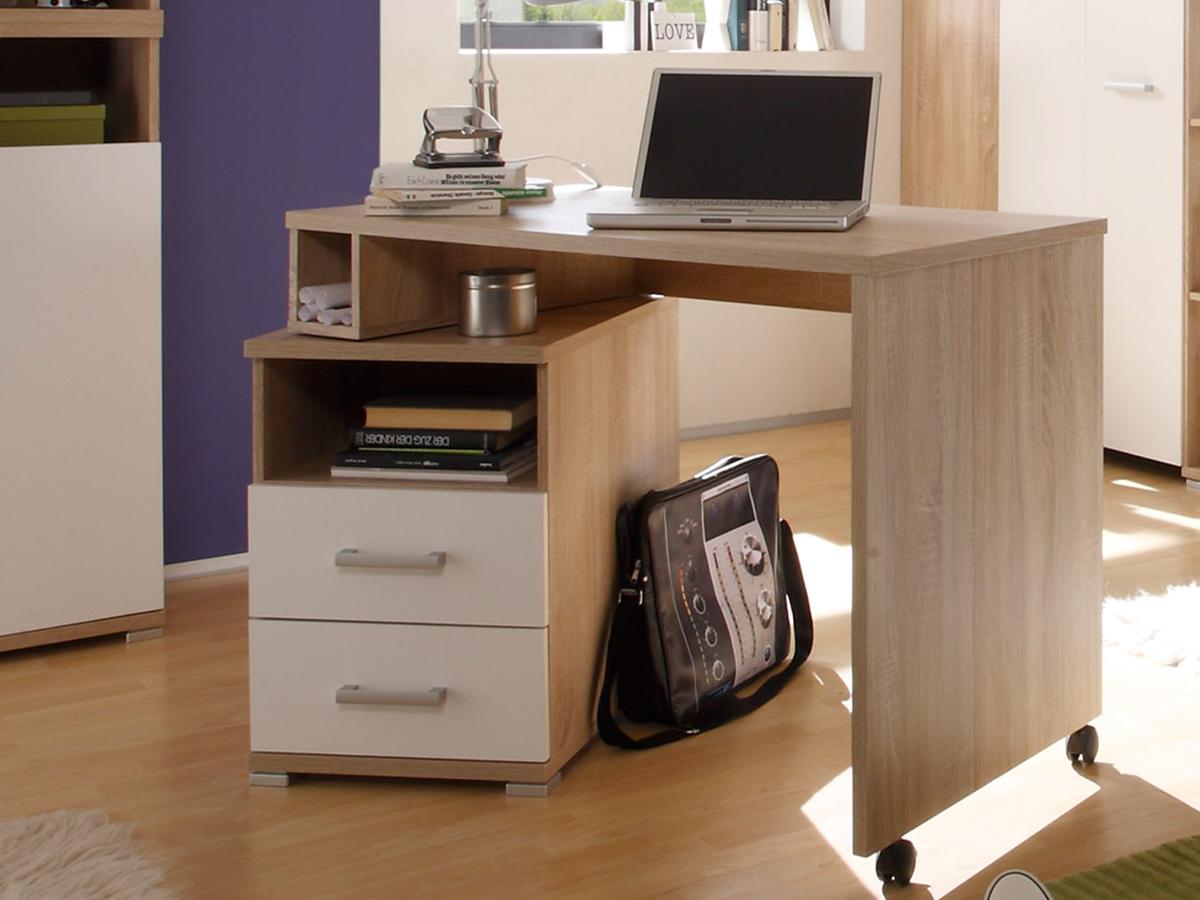 cassian schreibtisch eiche sonoma wei. Black Bedroom Furniture Sets. Home Design Ideas