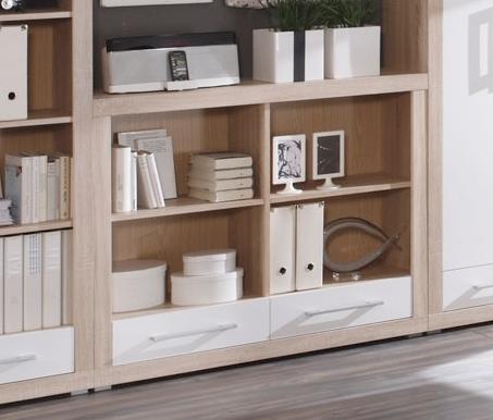 charon regal 4 mit 2 schubk sten sonoma eiche dekor weiss. Black Bedroom Furniture Sets. Home Design Ideas