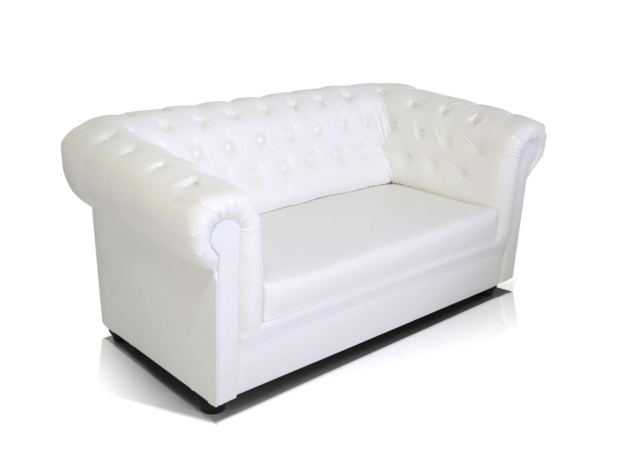 chesterfield 2er sofa kunstleder wei. Black Bedroom Furniture Sets. Home Design Ideas