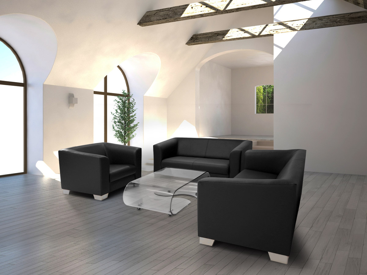 chicago 3 2 1 sofagarnitur schwarz. Black Bedroom Furniture Sets. Home Design Ideas