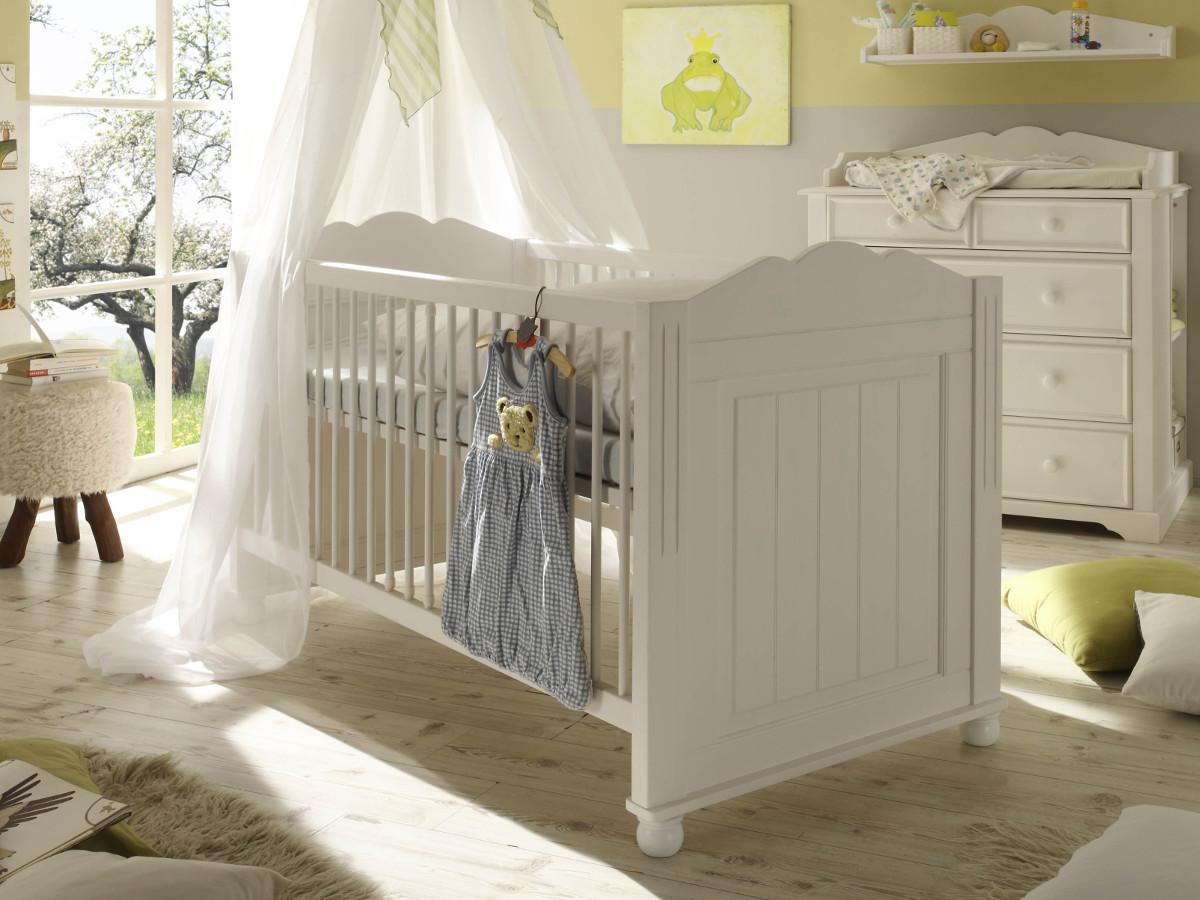 Vorschaubild von CINDERELLA PREMIUM Babybett Kiefer weiß