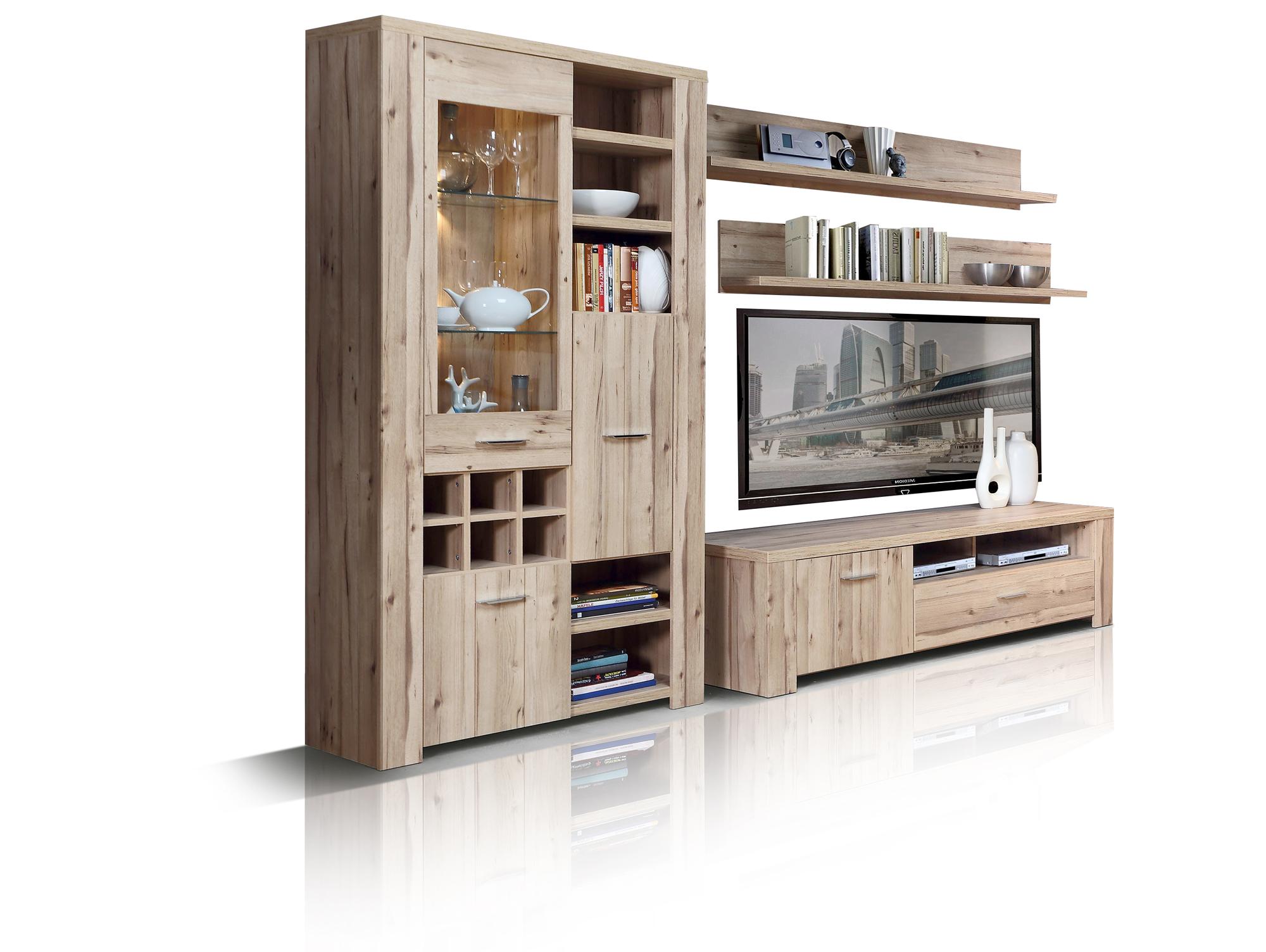 cuba wohnwand eiche. Black Bedroom Furniture Sets. Home Design Ideas