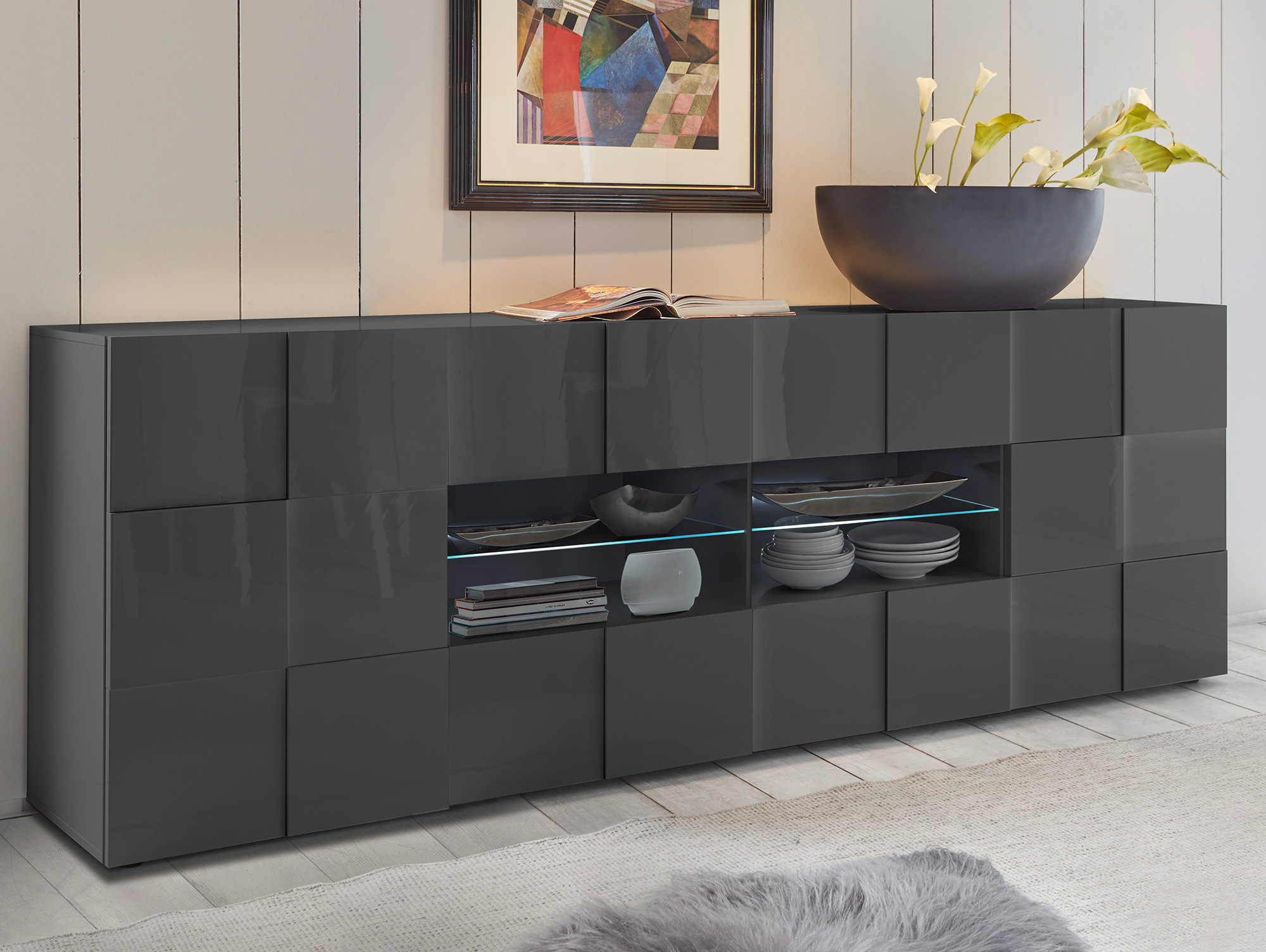 damiro sideboard mit 2 t ren und 4 schubk sten anthrazit. Black Bedroom Furniture Sets. Home Design Ideas