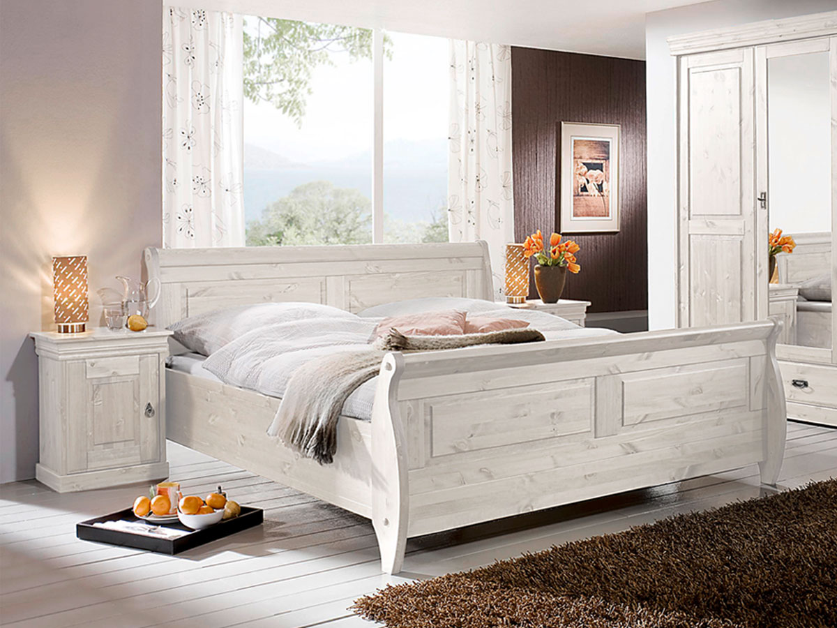 bett wei holz. Black Bedroom Furniture Sets. Home Design Ideas
