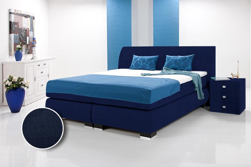 luxus boxspringbett inkl kopfteil doppelbett einzelbett 200 x 220 dunkelblau h rtegrad 3 4. Black Bedroom Furniture Sets. Home Design Ideas