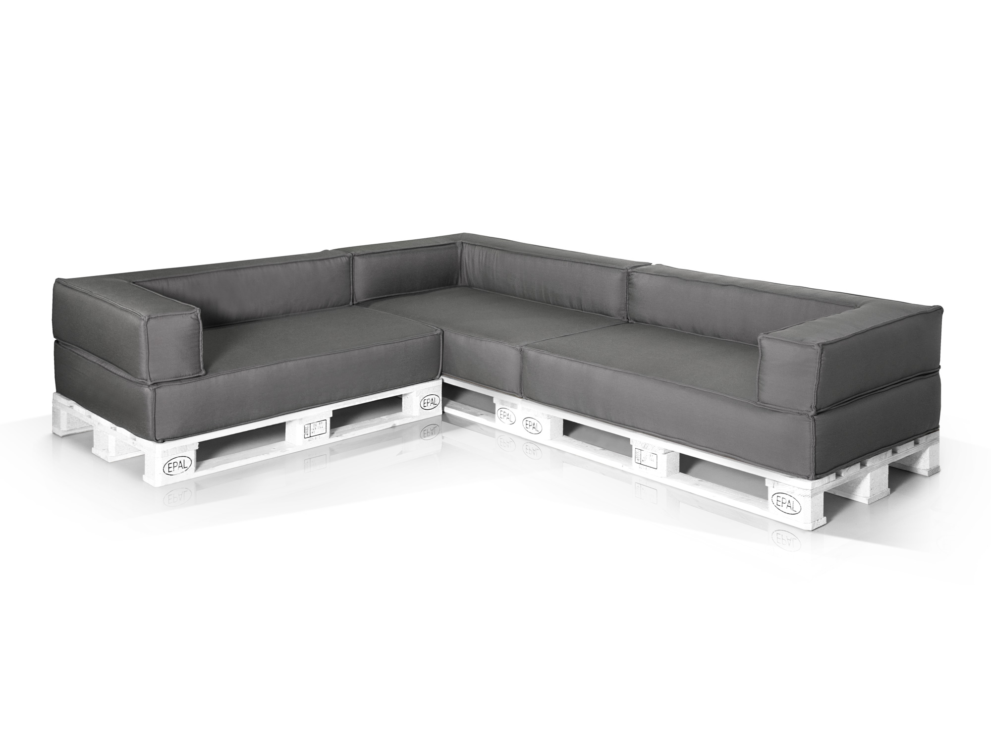 outdoor paletti ecksofa europaletten weiss mit wasserfesten polstern. Black Bedroom Furniture Sets. Home Design Ideas