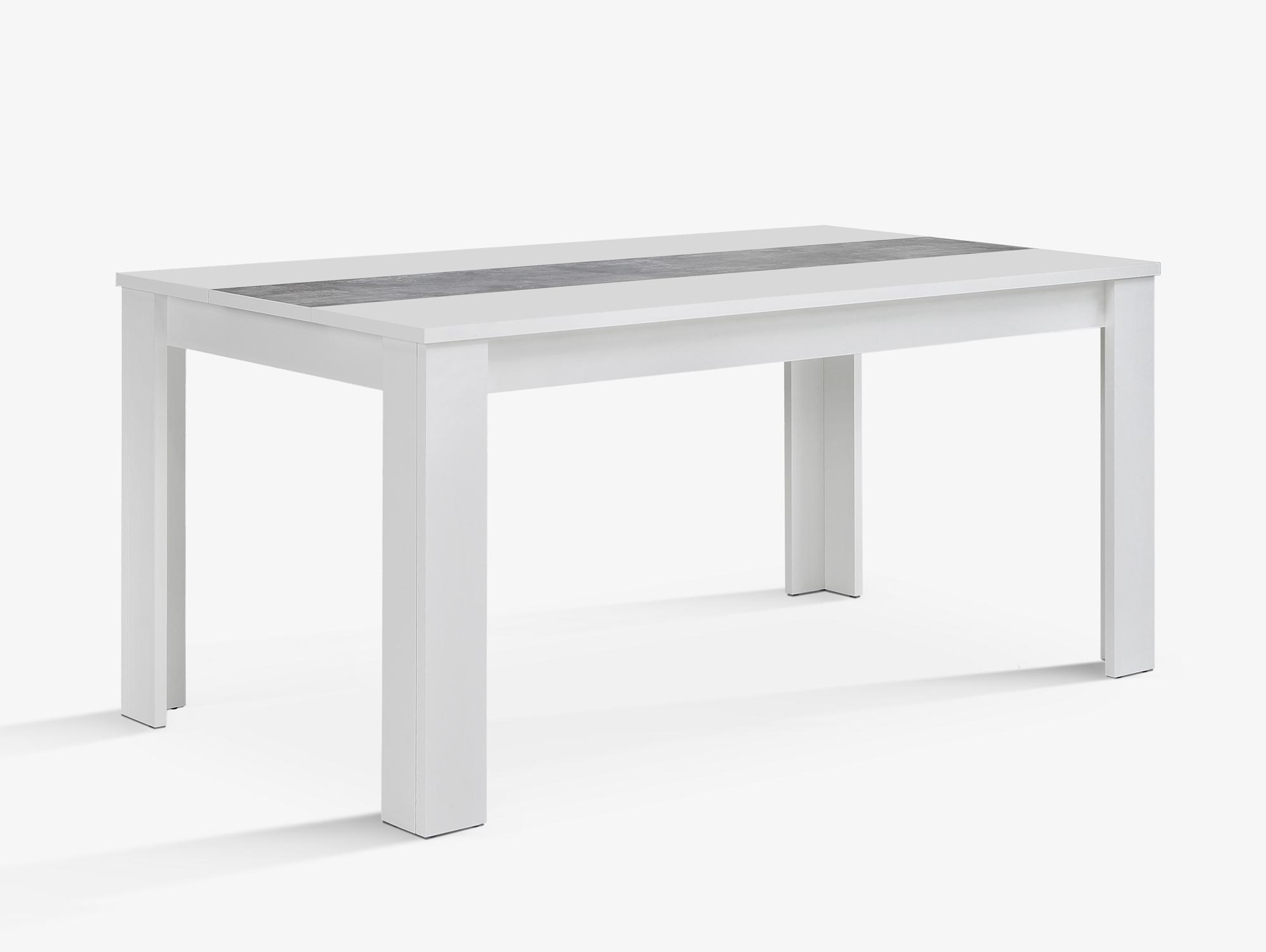 EMARA Esstisch 160x90 cm, Material Dekorspanplatte, weiss / betonfarbig