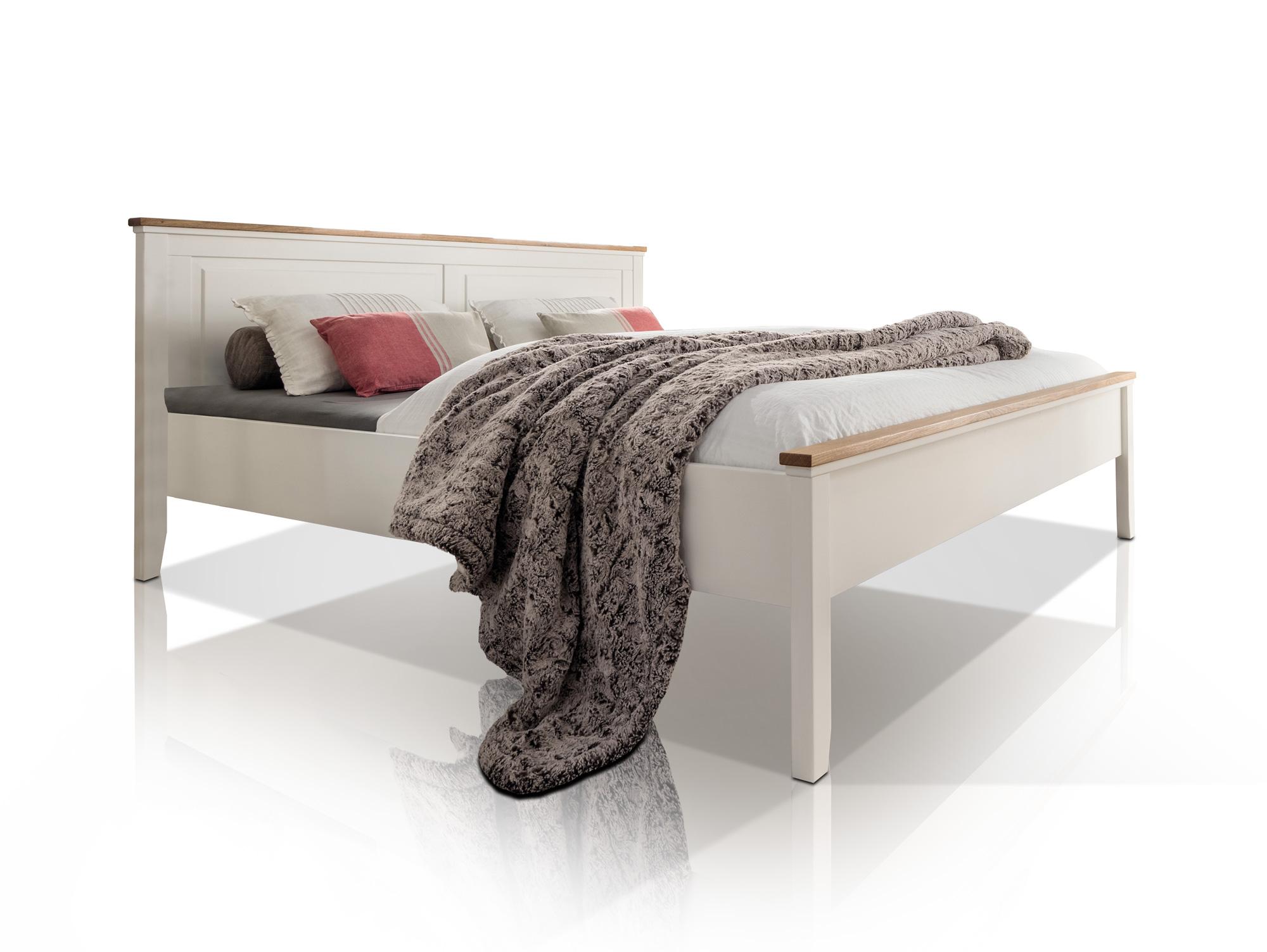 Emilia doppelbett 180x200 cm kiefer creme eiche massiv for Doppelbett 180x200