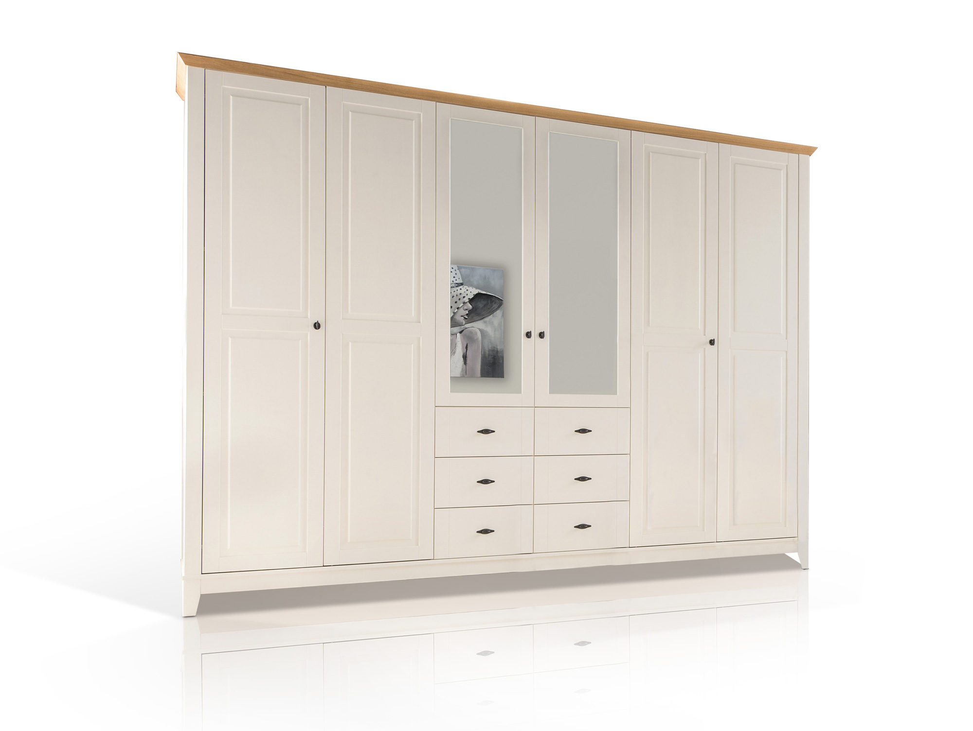 emilia massivholz kleiderschrank kiefer creme absetzung eiche massiv 276 cm 6 t rig. Black Bedroom Furniture Sets. Home Design Ideas