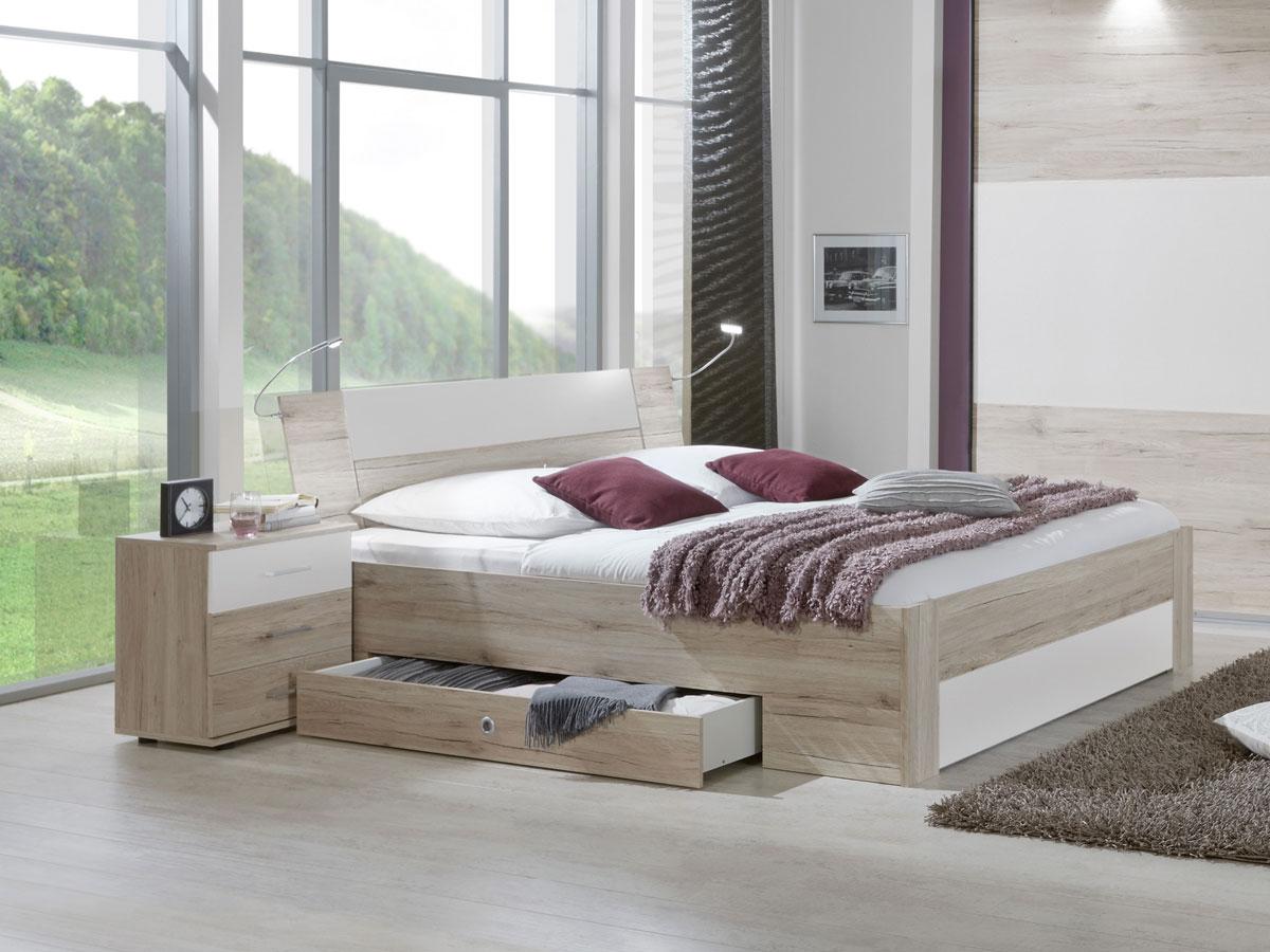 eric futonbett mit schubk sten 180x200 cm san remo eiche weiss. Black Bedroom Furniture Sets. Home Design Ideas