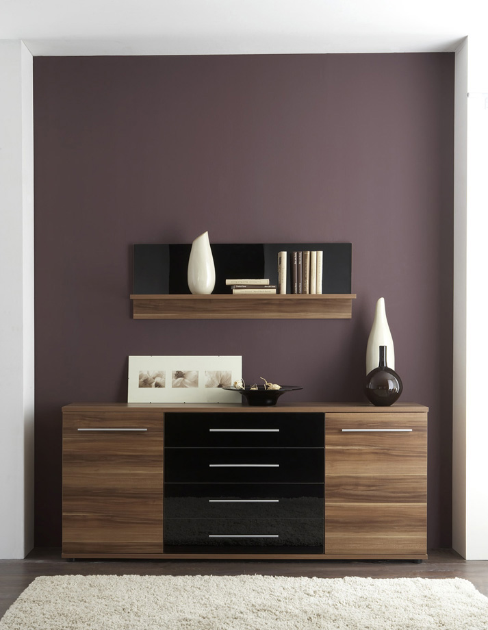 sideboard walnuss schwarz g nstig kaufen. Black Bedroom Furniture Sets. Home Design Ideas