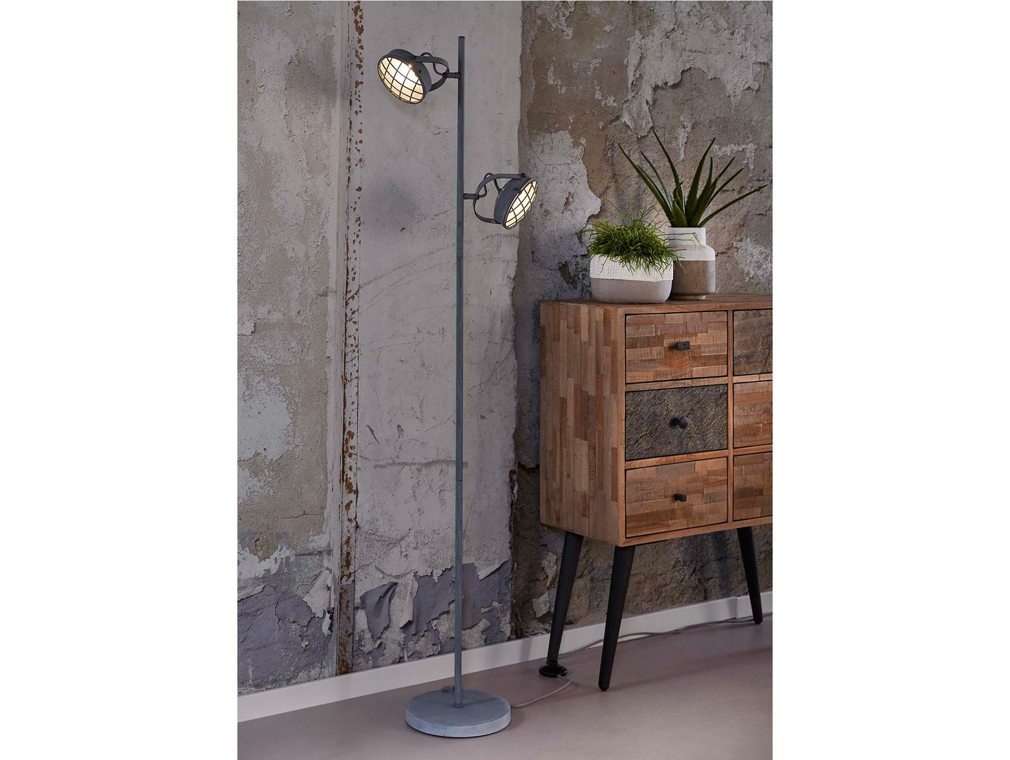 freda i stehlampe metall grau mit 2 leuchten. Black Bedroom Furniture Sets. Home Design Ideas