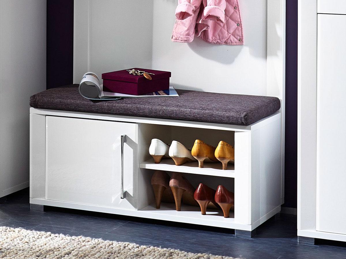 grande garderobenbank bank inkl sitzkissen grau wei hochglanz. Black Bedroom Furniture Sets. Home Design Ideas