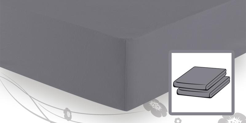 schlafgut basic jersey spannbettlaken 90x200 bis 100x200 cm graphit. Black Bedroom Furniture Sets. Home Design Ideas