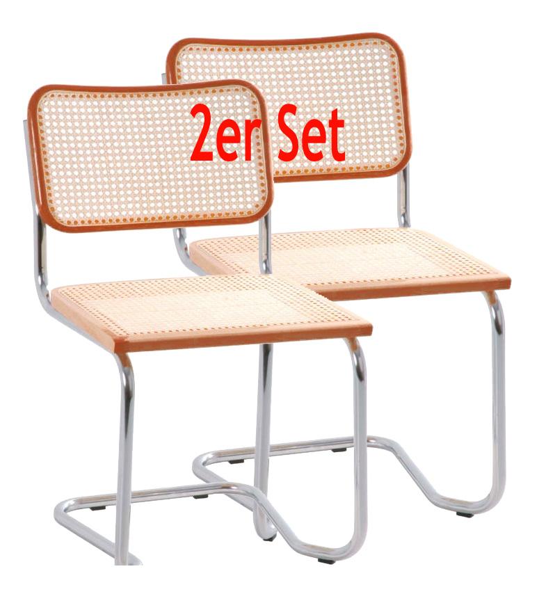 holm freischwinger esszimmerstuhl holzsitz chrom natur 2 er set. Black Bedroom Furniture Sets. Home Design Ideas