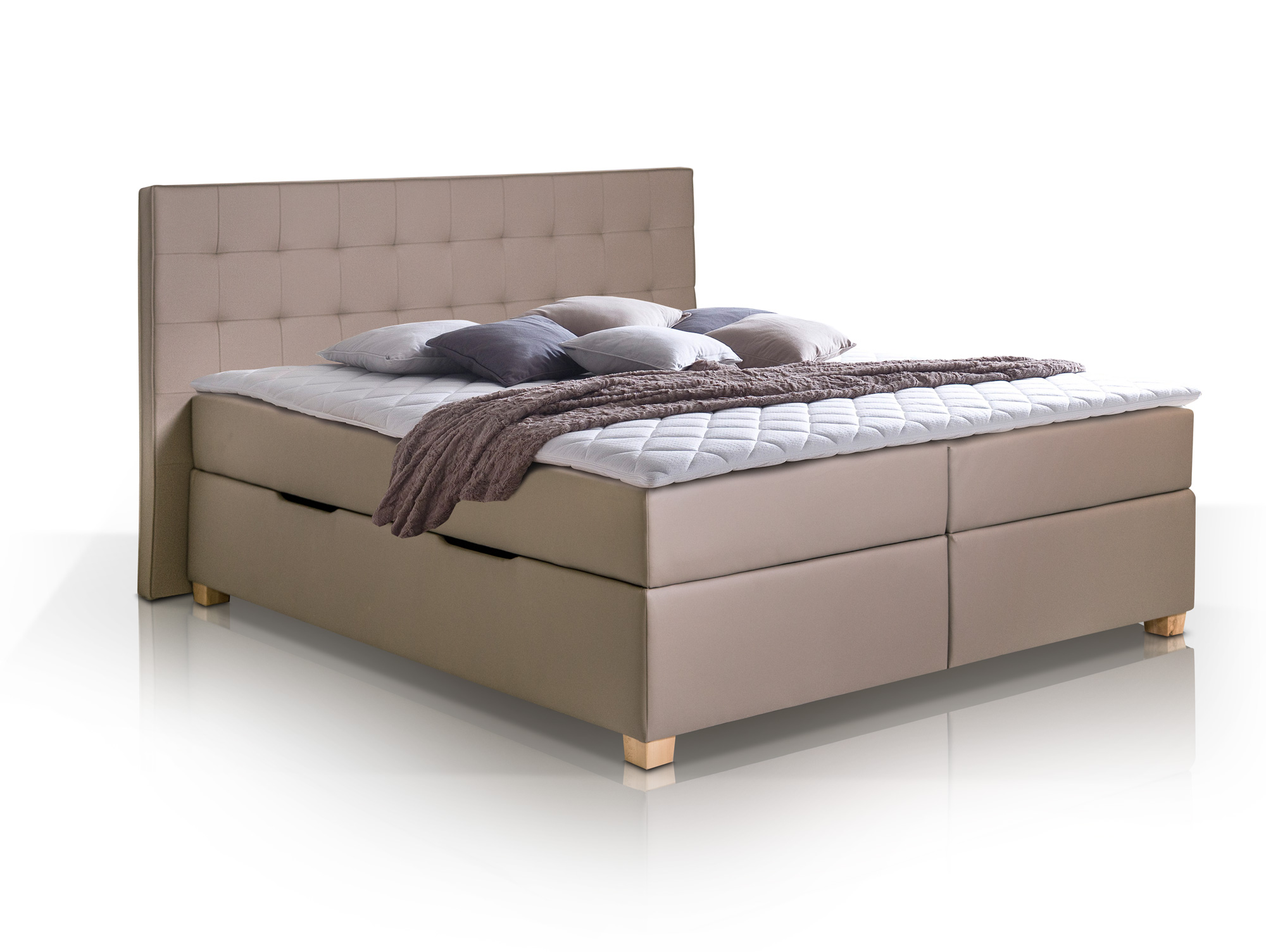 ida boxspringbett kunstleder mit bettkasten 200 x 200 cm muddy h rtegrad 3. Black Bedroom Furniture Sets. Home Design Ideas