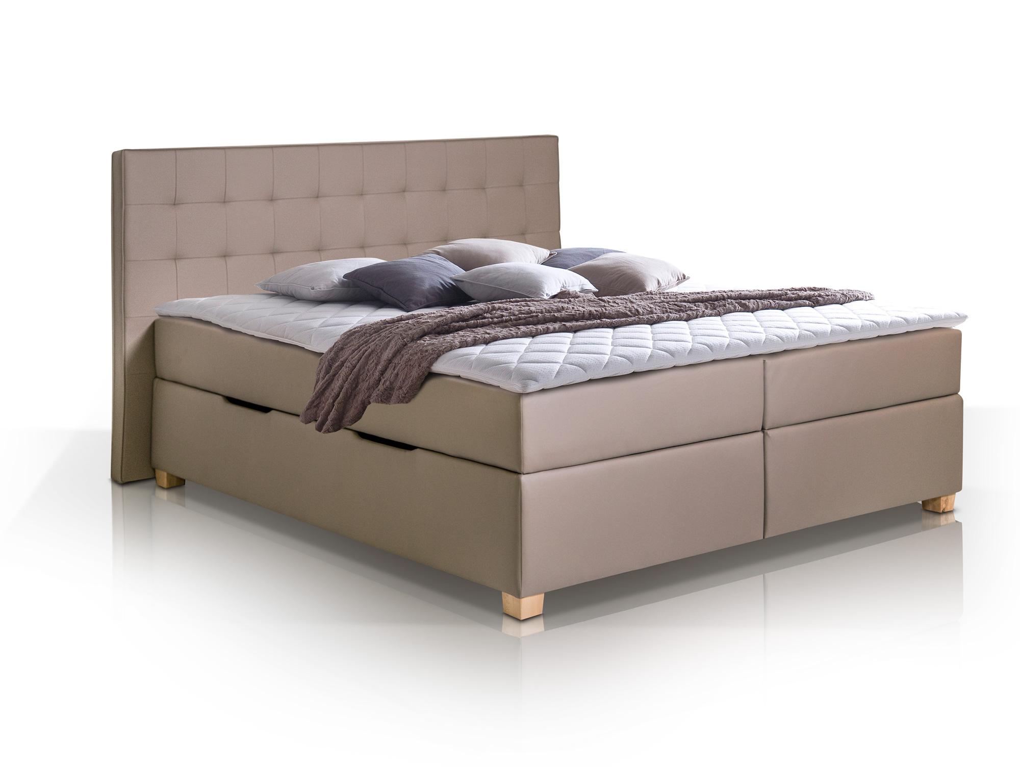 ida boxspringbett kunstleder mit bettkasten 200 x 200 cm. Black Bedroom Furniture Sets. Home Design Ideas