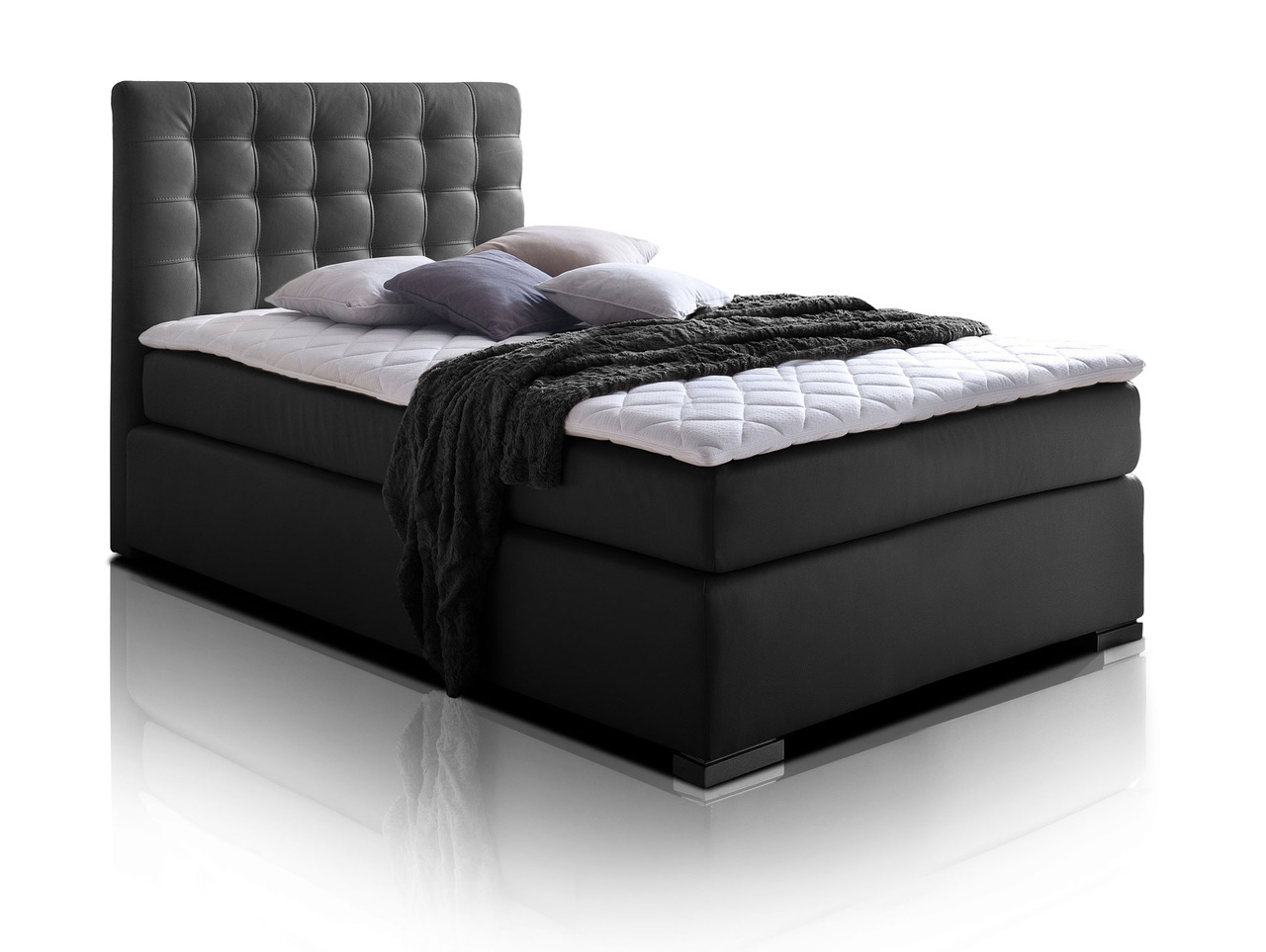 isabell boxspringbett 90 x 200 cm schwarz h rtegrad 2. Black Bedroom Furniture Sets. Home Design Ideas