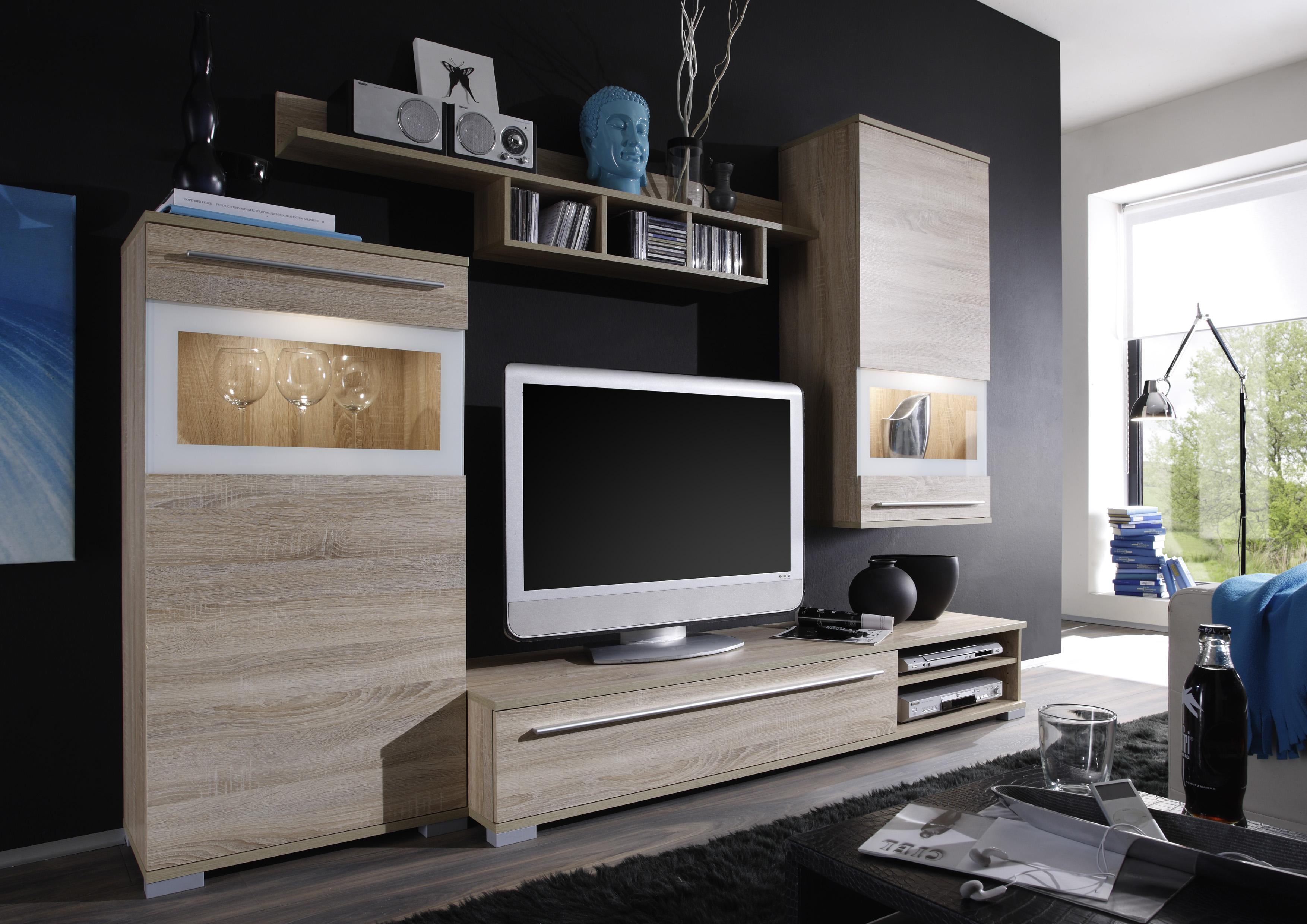 jam wohnwand eiche sonoma weiss 289 b2b trade. Black Bedroom Furniture Sets. Home Design Ideas