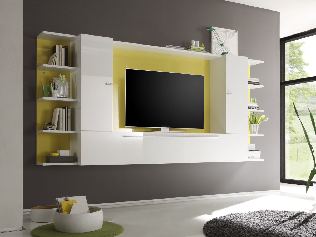 jolly wohnwand a wei gelb im internet. Black Bedroom Furniture Sets. Home Design Ideas