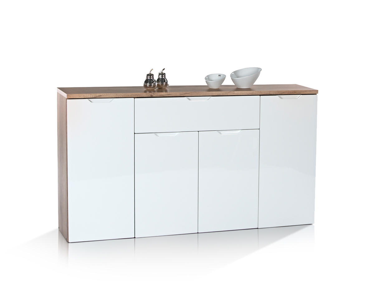 joa sideboard kommode 3 eiche sonoma weiss 146x81x35 cm. Black Bedroom Furniture Sets. Home Design Ideas