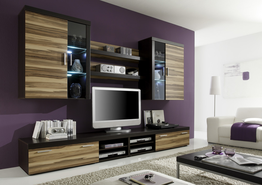 soren wohnwand 951 wenge nb walnuss dekor g nstig liefern lassen sch ne m bel. Black Bedroom Furniture Sets. Home Design Ideas