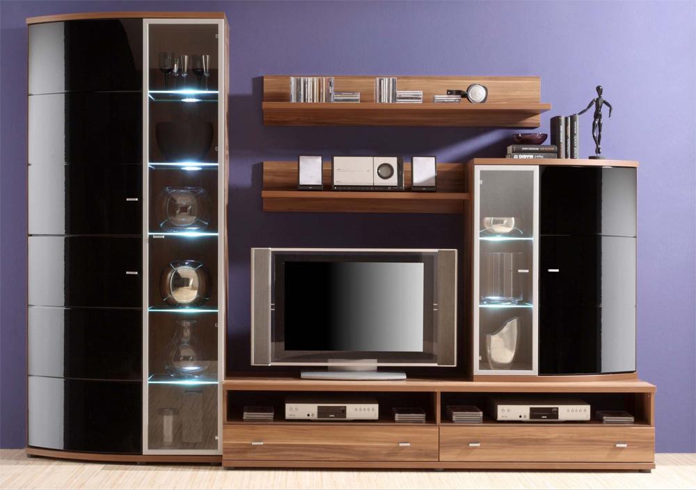 wohnwand nussbaum schwarz hochglanz g nstig kaufen. Black Bedroom Furniture Sets. Home Design Ideas