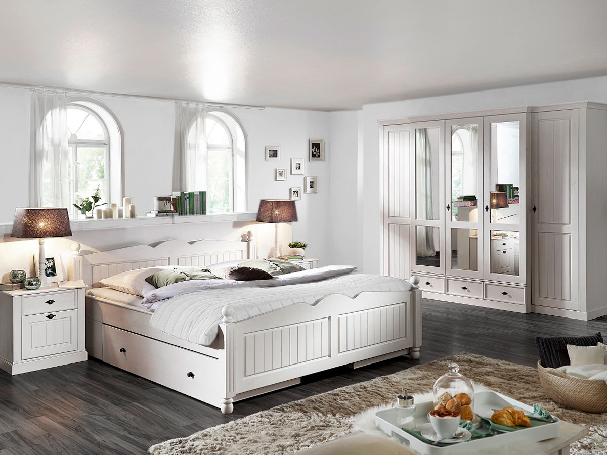 sofia komplett schlafzimmer kiefer wei. Black Bedroom Furniture Sets. Home Design Ideas