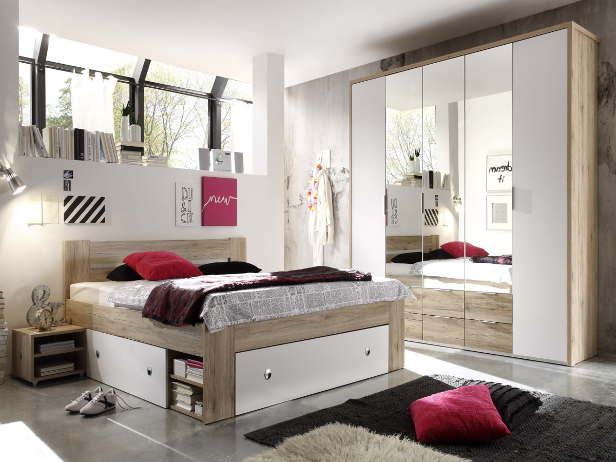 conny komplett schlafzimmer eiche san remo weiss 140 x 200 cm. Black Bedroom Furniture Sets. Home Design Ideas