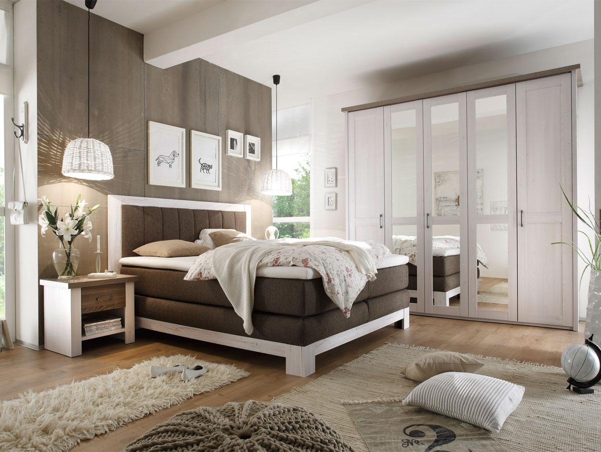 noah schlafzimmer 180x200 cm pinie weiss / trüffel, Wohnzimmer dekoo