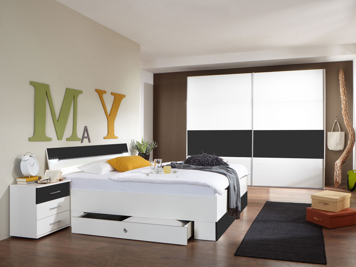cheek komplett schlafzimmer weiss anthrazit 225 cm. Black Bedroom Furniture Sets. Home Design Ideas