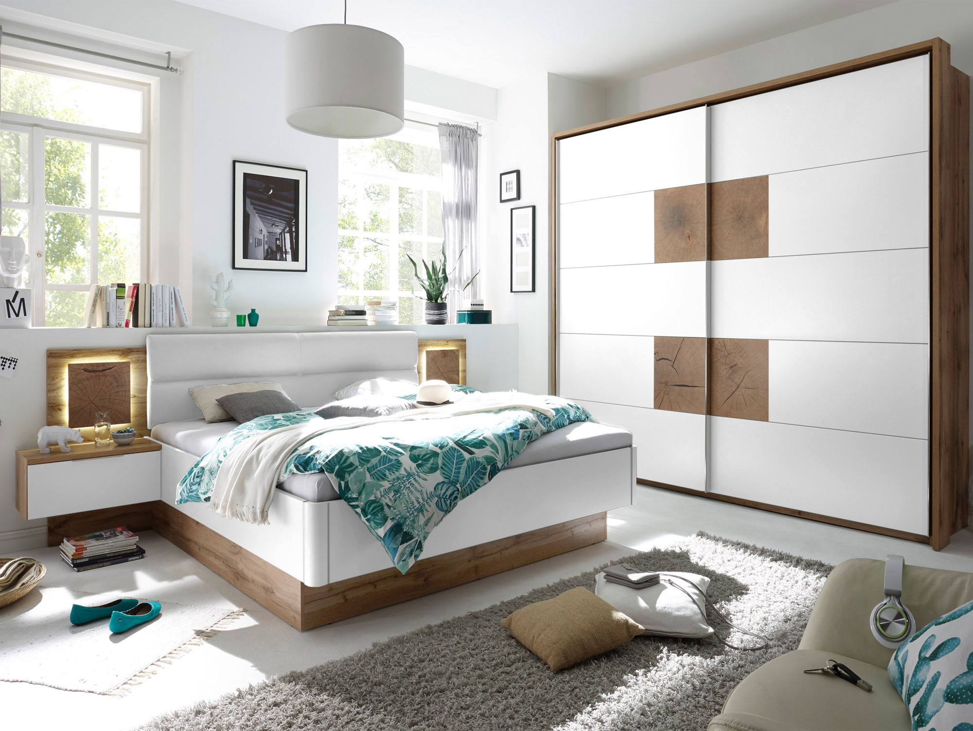 Cameron i schlafzimmer inkl nakos wildeiche weiss for Mobel schlafzimmer komplett