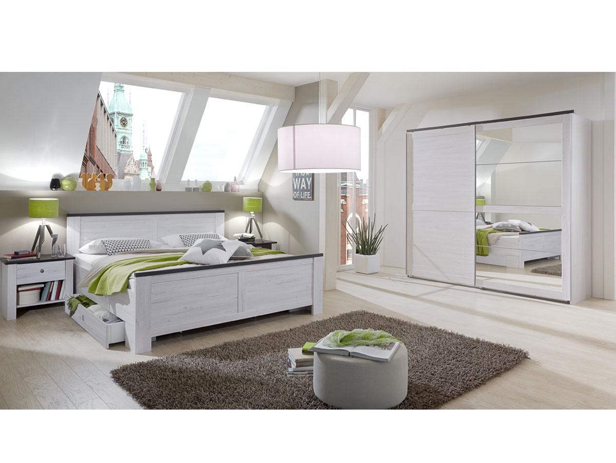 california komplett schlafzimmer wei eiche lavafarbig. Black Bedroom Furniture Sets. Home Design Ideas