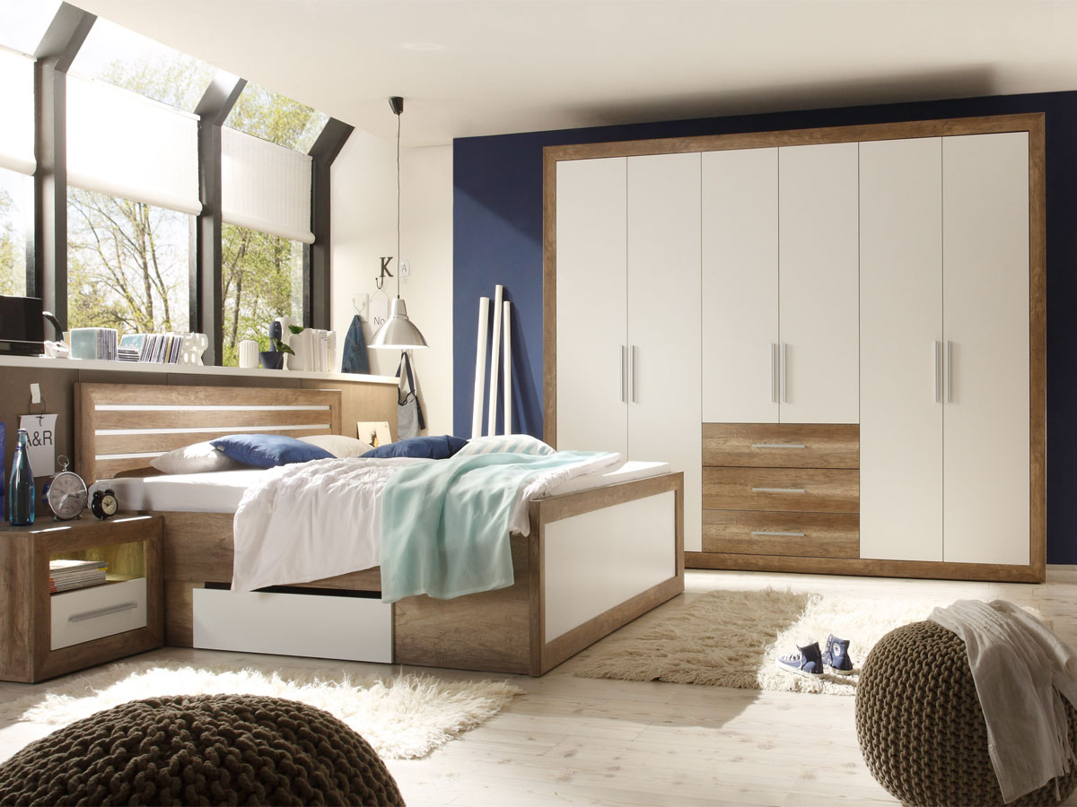 nando komplett schlafzimmer canyon oak weiss. Black Bedroom Furniture Sets. Home Design Ideas