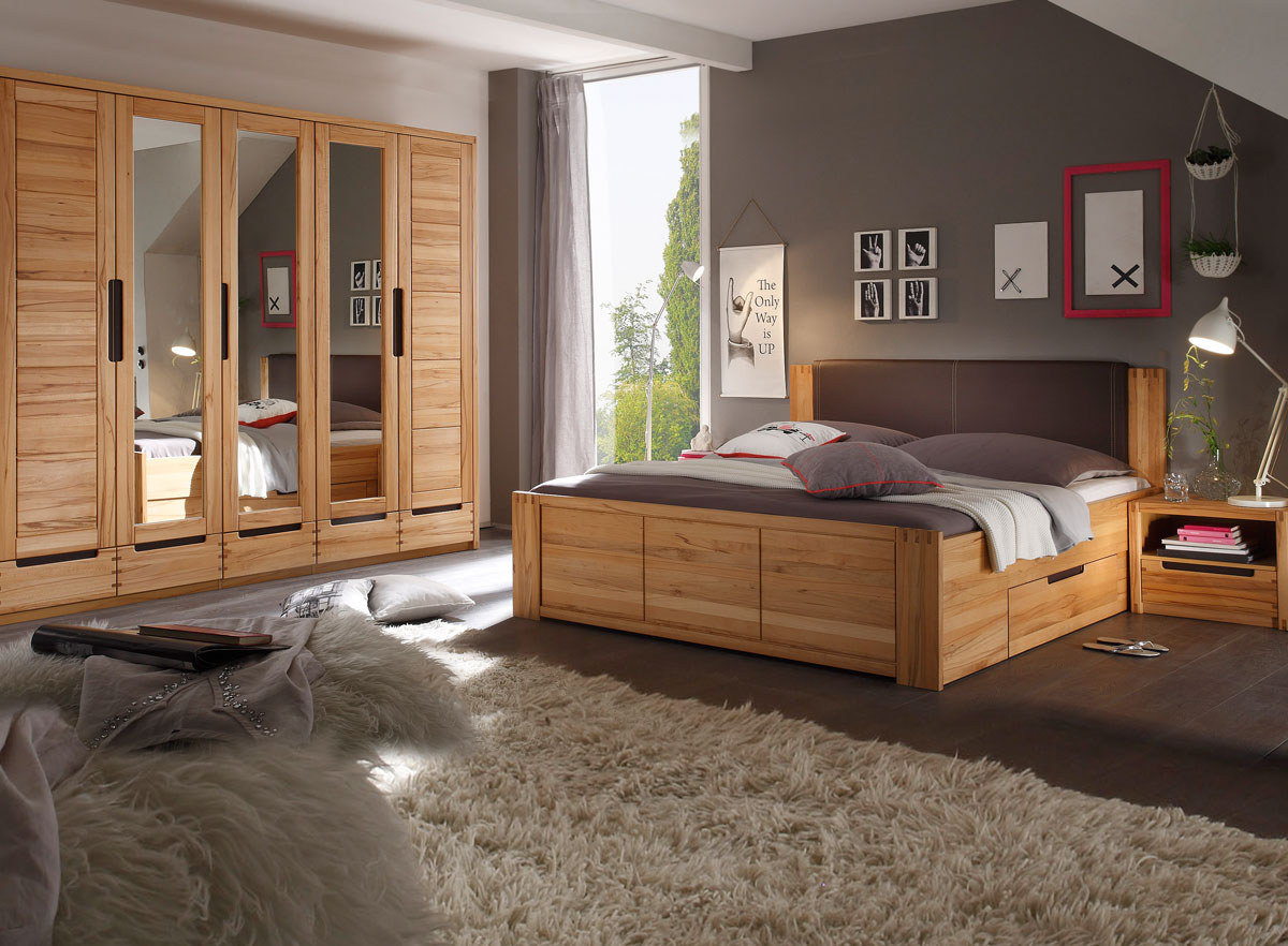 charles komplett schlafzimmer kernbuche teilmassiv. Black Bedroom Furniture Sets. Home Design Ideas