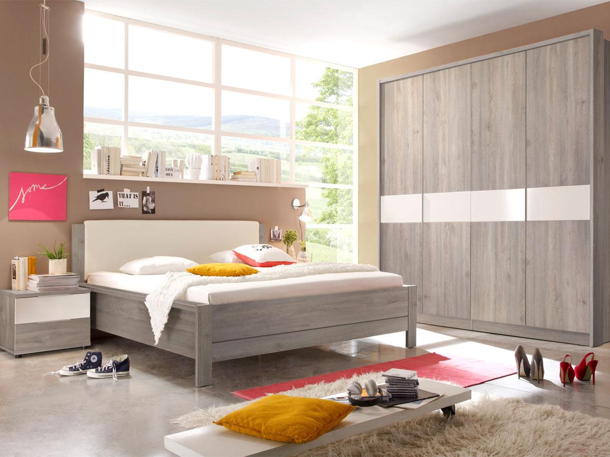 ingo komplett schlafzimmer silbereiche weiss mit dreht renschrank. Black Bedroom Furniture Sets. Home Design Ideas
