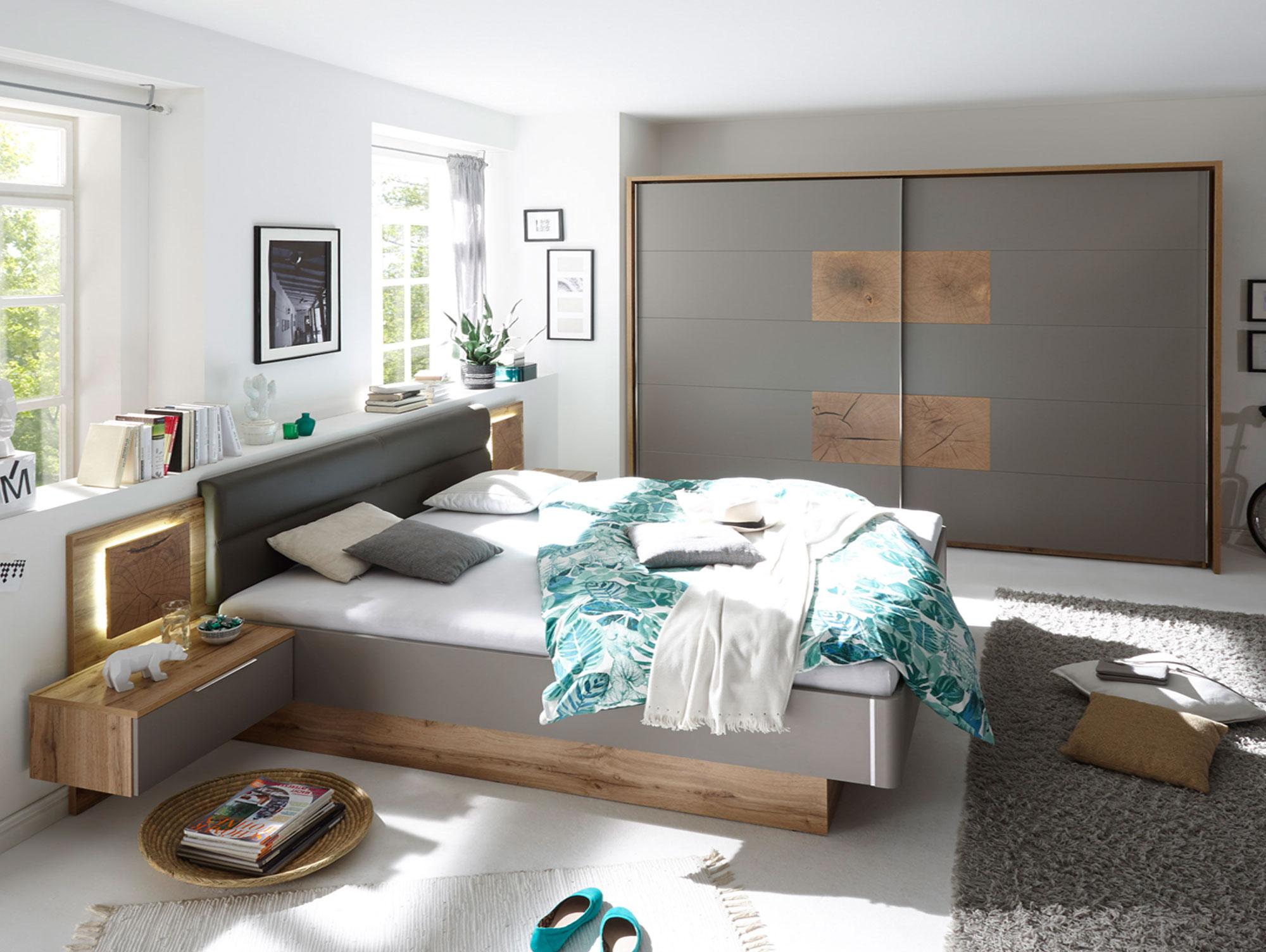CAMERON I Schlafzimmer inkl. Nakos Wildeiche/basaltgrau